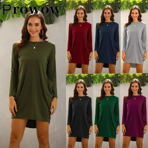 Prowow Bahar Sonbahar Kadınlar Casual Gevşek Katı Cepler Kısa Elbise Kadın Moda Streetwear Uzun Kollu Boy Elbiseler S-5XL