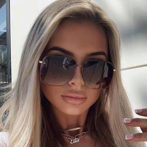 New Oversized Square Vintage Sunglasses Women 2020 Fashion Gradient Sun Glasses Men Metal Frame Black Blue Goggle Ladies UV400