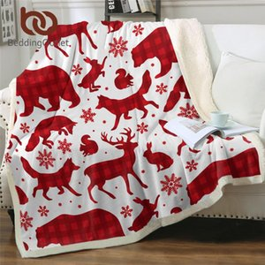 BeddingOutlet Christmas Throw Blanket Red Checkered Furry Blanket Snowflake Bed Forest Animal Elk Wolf Bear Bedding Koce