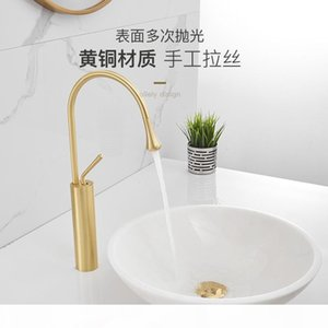 Gold Brush Wash Basin Faucets Black Bathroom Faucet Wash Hand Mixer Tall Taps Waterfall Tap Single Hole Sink Faucet Torneira