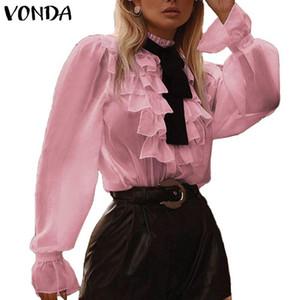 VONDA Women Long Sleeve Tops Ruffled Blouse 2020 VONDA Bohemian Tops Fashion Female Shirts Office Blusas Femininas Plus Size