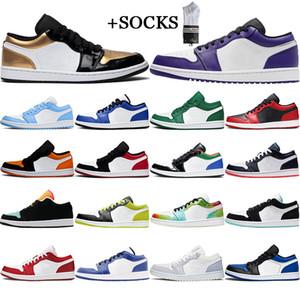 Com Free Socks Hot Jumpman 1 1S Homens Sapatos de Basquete Baixo Baixo Unc Reverso Mocha Obsidiana Ember Bred Light Fuminer Treinador Sports Sneaker 36-45