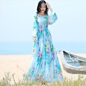 2020 chiffon Long Sleeve maxi dress bohemia dress full plus size celebrity graduation Dinner Dress Beach Sundress Drop Shipping