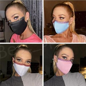 Masks Bling Bling Rhinestone Face Mask Women Crystal Stitching Masks Fashion Reusable Face Mouth Cover Adult Nightclub Designer Mask GWC4120