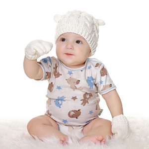 New 4Colors INS Baby Kids Boys Girls Beanies with gloves 3Pieces Set Fleece Blank Knitted Winter Children Caps Rabbit Hats for HHE2887