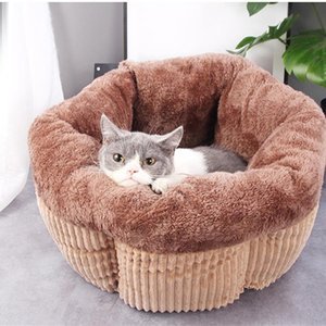 Winter Dog Cat Bed Warm Kennel Rim Cushion Nonslip Bottom Dog Beds Pet Floppy Extra Comfy Plush House for Mat Pet Supplies