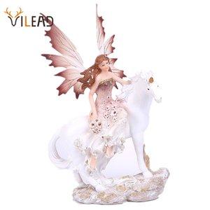 VILEAD Resin Unicorn Horn Fairy Angel Figurines Lovely Girl Flower Fairy Statue Home Decor Creative Gift Fairy Garden Children 201202