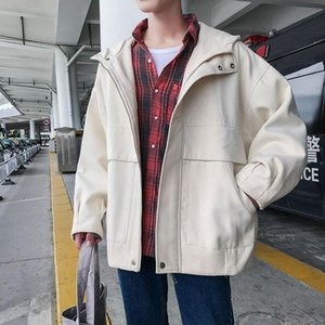 Winter Short Woolen Coat Moda cálida moda Casual Capucha Woolen Coat Men Streetwear Coreano Solicado Zipper Jacket Hombre