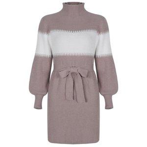Halbrollkragen Langarm-Pullover Kleid Frauen Herbst-Winter-lose Tunika Knit Gelegenheits Khaki-Kleidung Pullover Kleider Street