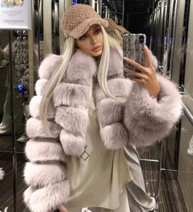 Hot selling plus size 3xl 4xl fur coat imitation fox fur stitching short long sleeve coat Women Girl bubble coats for ladies