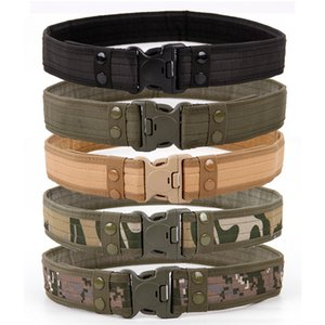 2020 New Army Style Combat Belts Quick Release Tactical Belt Fashion Men Canvas Waistband Outdoor Hunting 9Colors Optional 130cm
