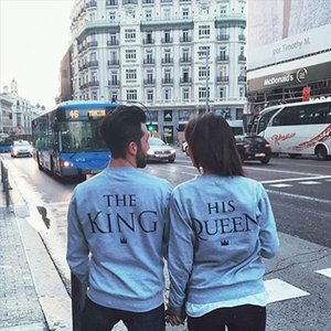 1 PC King Queen Couple Letter Print Couples Tops B Shirts Couple Sweater Light Gray