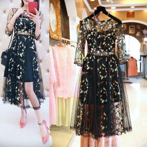 Etosell Boho Vintage Floral Stickerei Spitze Mesh Kleider Mode Runway Kleid Beiläufige Durchsicht durch Vestidos