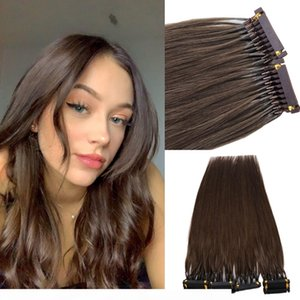 100% Real Human Hair Extensions 6D hair Chotolate Brown color Slik Straight 6d Hair Extensions 100g 0.8g strand