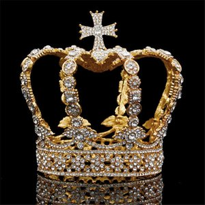 Male Cross Crown baroque Bridal Wedding crown Royal King Tiara Wedding dress birthday party performance accessories Diadem S926