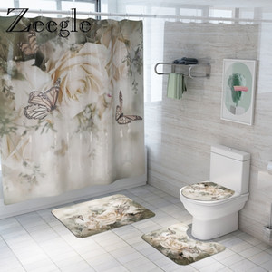 Floral Bath and Curtain Set Anti-slip Shower Bathroom Foot Rug Home Decoration Toilet Floor Mat 201119