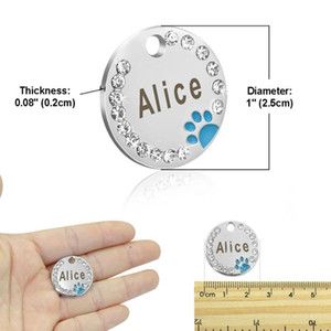 6pcs lot Pet Dog Cat Id Tags Blank Stainless Steel Round Paw Name Tag Dog Collar Accessories Pendant For Dogs Cats A bbykqm