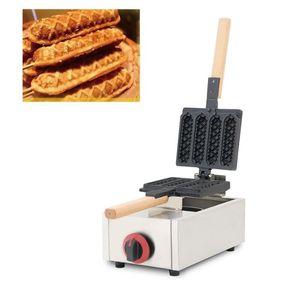 Gas Muffin Hot Dog Machine Rotating Commercial 4pcs Sausage Crispy French Corn Hotdog Waffle Egg Cake Maker Iron Pan Grill