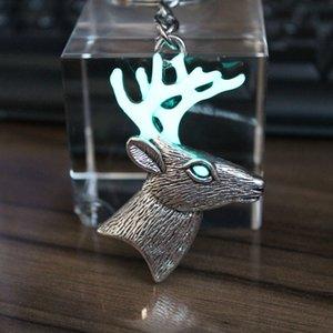 Hot SaleGlowing Reindeer Deer Chain Ring Glow In The Dark Christmas Gifts Keychain Women Men Car Bag Key Pendant