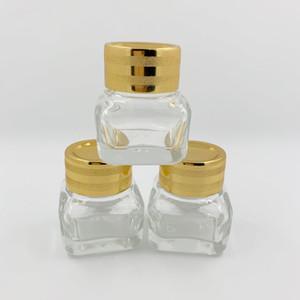 Cancella / ambra barattoli cosmetici 15G barattoli di vetro con coperchi in plastica oro rivestimento interno PP fodera per la mano crema labbra labbra lozioni DHD3184
