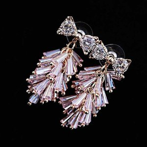 High Quality Zircon Bowknot Crystal Tassel Earrings For Women Jewelry Pink White Black Blue Colors