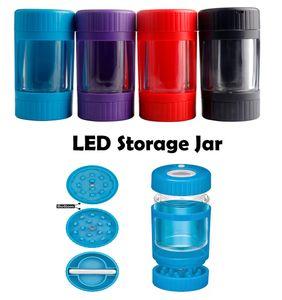 Contenedor de almacenamiento de frasco de resplandor LED con molinillo inferior 155ml STASH JAR JAR Hierbas secas Tabaco Brilla de vacío Botellas de vacío Sellado Tanque de almacenamiento Tarjeta de almacenamiento