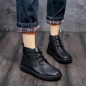 2021 Winter New Women Boots Female Genuine Leather Lace-up Boots Autumn Women Flat Platform Snow
