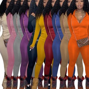 Mulheres S de duas peças jogging ternos 2020 outono inverno moda casual mulheres 2 peças faixas faixas cor de manga comprida e calça