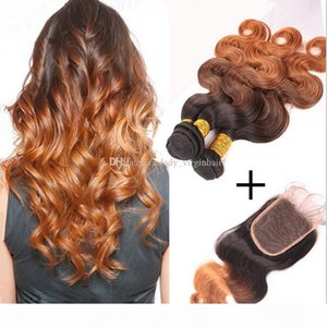 Brazilian Ombre Hair Extensions With Top Closure Body Wave 4Pcs Lot,1pc Lace Closure With 3pcs Three Tone Hair Bundles #1B 4 30