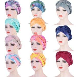 Women Hair Loss Muslim Braid Tie Dye Head Turban Bandanas Wrap Cover Cancer Chemo Cap Hat India Bonnet Beanies Skullies Fashion