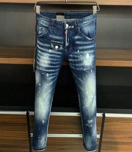 2020 brand Biker Italy mens jeans pants Men Slim Stretch jeans denim trousers blue hole Pencil Pants for men 9718