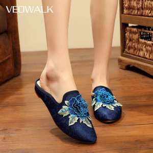 Veowalk Handmade 3D Flowers Embroidery Women Pointed Toe Cotton Mules Slippers Vintage Ladies Comfort Chinese Embroidered ShoesZ1127