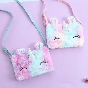 Дети мультфильм Unicorn плюшевые нечеткие сундук сумка на молнии Фанни пакет скрещивание сумка кошельки кошелек сумка Baby Girls Messenger Bag E121503