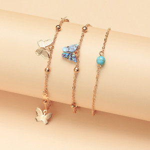 Go Party Whosale In Stock Women 2020 Summer Beach Anklets Foot Jewelry Ankle Bracelet Butterfly Anklet