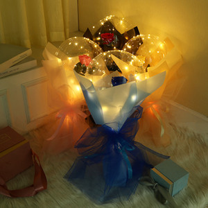 LED Işık Aydınlık Balon Gül Buketi Şeffaf Kabarcık Gül Bobo Topu Sevgililer Günü Hediyesi için Doğum Günü Düğün Dekorasyon E121802