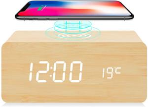 Digital Alarm Clock with Qi Wireless Charging Pad Wooden Led Digital Night Clock Sound Control Function 3 Alarm Settings,4 colors