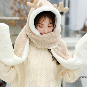 Women Winter Warm 3 In 1 Hoodie Hat with Long Scarf Gloves Combo Cartoon Reindeer Antler Fluffy Plush Earflap Cap Mitten1
