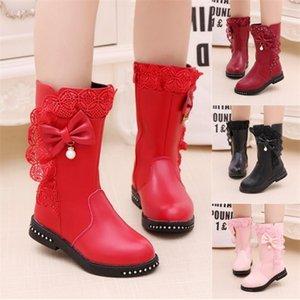 Autumn Kids Single Children's Snow's Snow Winter Girls Leather Fashion Princess Boots Plus Velvet Lace Bow Shoes C1120