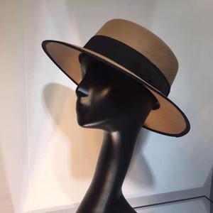 Chapeau de fedora adulte 100% laine feutre de mode de mode de mode classique plateau plateau large bord vintage dame élégant femme chapeau