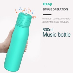 600ml 21oz Smart Music Water Bottle Waterproof Intelligent Speaker Music Cup USB Charging Portable Double Wall Thermos For Home Travel