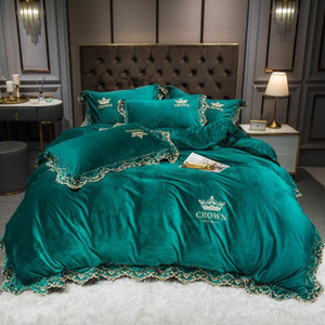 43 Crown Embroidery Winter Velvet Flannel Fleece Lace Bedding set Duvet Cover Bed Linen Fitted Sheet Pillowcases Queen King