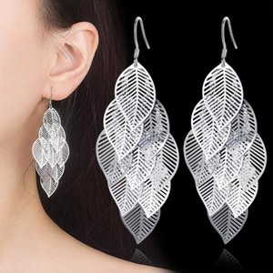 NEHZY 925 sterling silver Jewelry High Quality Fashion Woman Earring Retro Hollow Maple Leaf Exaggerated Long Tassel Hanging
