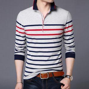 2020 новая мода рубашка брендов мужская полосатая стройная подходит с длинным рукавом мерсеризованный хлопковый стенд цвет полос повседневная мужская одежда