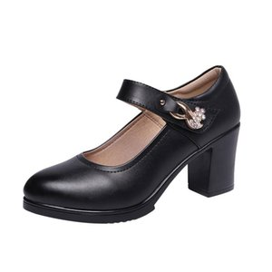 Zapatos de vestir Trabajo negro Cheongsam Cheongsam Cancelas de grosor con plataforma impermeable de gran tamaño