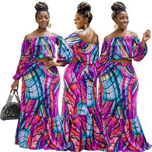 Lange Frau Rock Set Zwei Stücke Kleid Anzüge Multi Purpurrote Farbe Lange Kleidanzüge Große Größe Kleidung Set Slash Shouder Cold Schulter Design