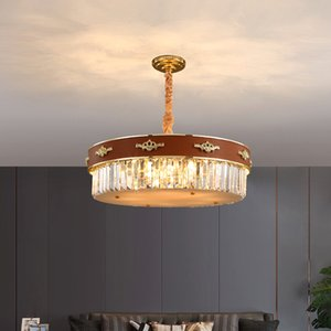 Newest design leather crystal chandelier lighting for living room bedroom foyer creative luxurious chandeliers lamps modern pendant lights