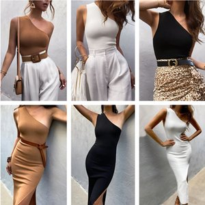 summer new nightclub sports one shoulder no steel ring sling wrapped chest women's slant shoulder vest fashion Hot Sexy Tight clothing