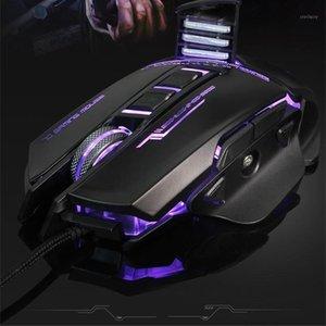 Seenda ajustable 3200DPI Máquina de juegos con cable mecánico programable 7 botones Madera óptica LED de retroiluminación Ergonomía MICE1