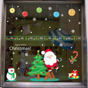 New DIY Christmas Window Decal Santa Claus Snowflake Stickers Winter Wall Decals for Kids Rooms New Year Christmas Window Decorations