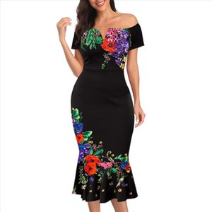 M 3XL Plus Size Women New Off shoulder Female Printed Bodycon Dress Elegant Sexy Slim Party Formal Dress Midi Big Size D30